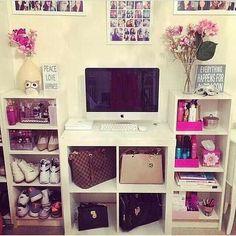 Organized storage bedroom with tv idea