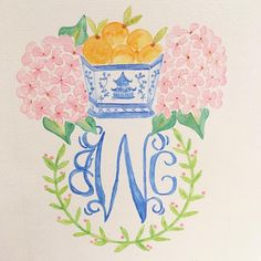 """20 Likes, 2 Comments - Megan Kodatt (@bymmmkay) on Instagram: """"Finished! #chinoiserie #citrus #hydrangeas #floridastyle #preppystyle #watercolor…"""""""