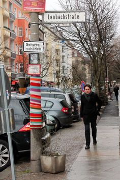 Guerillia Knitting (Yarn Bombing) Street Art in Berlin Friedrichshain
