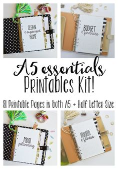 A5 Printable Planner Inserts- Meal Planning, Cleaning, Budgeting, & Fitness Inserts! 81+Pages!! A5 AND Half Letter Size