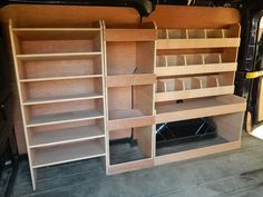 This will only fit the September 2014 on-ward SWB Custom. Manufactured from plywood racking system. Ireland, Isle of Wight, Isle of Mann or other Channel Isles. sloping shelves at the bulkhead end ideal for storing drill. Trailer Shelving, Van Shelving, Trailer Storage, Truck Storage, Camper Storage, Cargo Trailers, Utility Trailer, Van Storage, Tool Storage