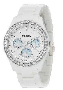 Fossil Es1967 Multifunction Ladies Watch, (fossil, casual, white watch, casual chic, watches, stella, womens, white boyfriend watch, bling, crystals)