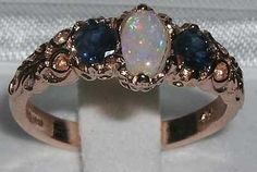 VICTORIAN INSP SOLID 9CT ROSE GOLD OPAL & SAPPHIRE RING