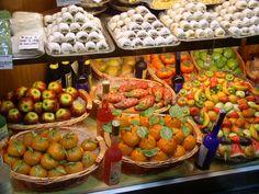 Marzipan fruits in a Sicilian shop
