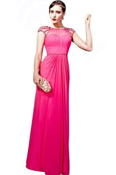 Orifashion Graceful Hot Pink Chiffon Evening Dress with Sheer Cap Sleeves: Amazon.com: Clothing