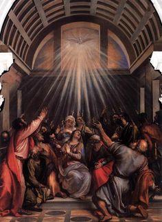 *** Tiziano, La Venida del Espíritu Santo, 1545. Venecia, Iglesia de La Salute. Las representaciones del milagro de Pentecostés ilustran con frecuencia el momento en que la Vírgen y los apóstoles reciben sobre su cabeza la venida del Espíritu Santo, en forma de lenguas de fuego que parten de la paloma o Mano de Dios. Con el Renacimiento se ubica la escena en el interior. En un principio San Pedro se sitúa en el centro, en el lugar de honor que acabará ocupando la Vírgen, entronizada en…