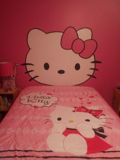 Foe Hello Kitty head board we painted in our daughter's bedroom