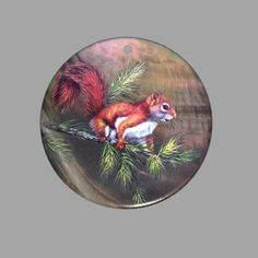 HAND PAINTED SQUIRREL NATURAL MOTHER OF PEARL SHELL PENDANT ZP30 00543 #ZL #PENDANT