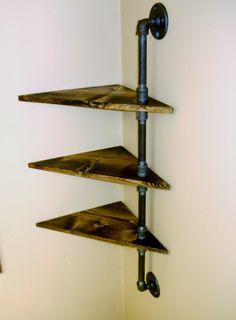 Corner Pipe Shelf  Industrial Shelves  Three by VulpineYooper