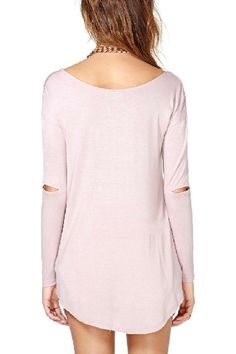 Pink Round Neck Loose Long Sleeve T-shirt