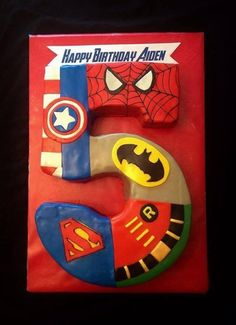 Super hero number 5 cake... I know an almost 5 yr old who would LOVE this cake:)