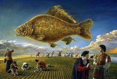 """""""Ascenso del pez dorado / Gold Fish Rising"""", óleo sobre lienzo / oil on canvas - Michael Cheval"""