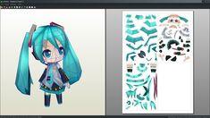 Hatsune Miku chibi papercraft unfold by antyyy.deviantart.com on @DeviantArt