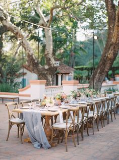 La Tavola Fine Linen Rental: Aurora Silver Table Runner with Nuovo Grey Napkins | Photography: Tenth & Grace, Event Planning & Design: So Happi Together, Florals: Finding Flora, Venue: Rancho Las Lomas, Paper Goods: Printsonalities, Catering & Rentals: 24 Carrots, Flatware: borrowed BLU, Tables & Chairs: Signature Party Rentals