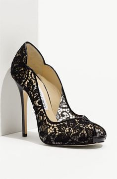 Jimmy Choo 'Faith' Lace Peep Toe Pump...