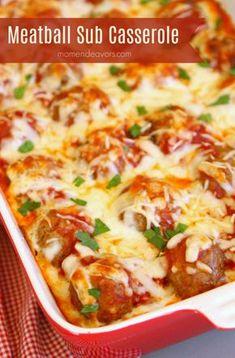 Pasta Casserole Recipes Meatball Subs Ideas Meatball Sub Casserole, Meatball Subs, Meatball Sub Recipe, Frozen Meatball Recipes, Pasta Casserole, Meat Recipes, Gourmet Recipes, Cooking Recipes, Barbecue Recipes