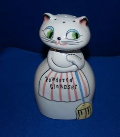 Vintage 1959 Holt Howard Pixieware Cozy Kitten KItty Cat Powdered Cleanser Jar