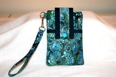 Cell Phone Bag Batik Ice Blues Black Design by MeeMawsBags on Etsy