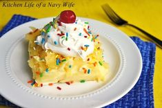 Twinkie Pudding Pie ----- Pudding, Twinkies, milk, pineapple, Cool Whip and a cherry