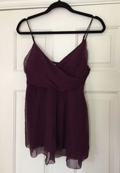 Dkny #donna #karan new york designer plum baby doll silk #blouse vest top size 6,  View more on the LINK: http://www.zeppy.io/product/gb/2/132050283484/