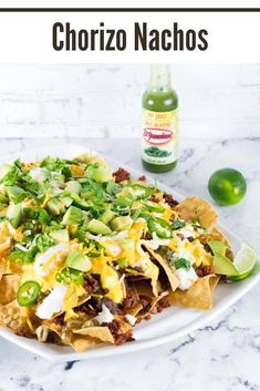 These fully loaded chorizo nachos are an exciting twist on the classic appetizer. These fully loaded chorizo nachos are an exciting twist on the classic appetizer. fully loaded chorizo nachos are an exciting twist on the classic appetizer. Nacho Cheese Sauce, Chef Recipes, Mexican Food Recipes, Yummy Recipes, Sweets Recipes, Amazing Recipes, Chorizo Tacos, Mexican Shredded Beef, Cooking