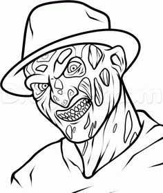 how to draw freddy krueger easy step 7 is part of Halloween coloring pages - Scary Drawings, Halloween Drawings, Art Drawings Sketches, Cartoon Drawings, Scary Coloring Pages, Halloween Coloring Pages, Coloring Book, Colouring, Freddy Krueger Drawing