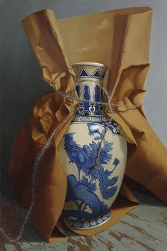Brown Paper with Asian Vase by Sarah van der Helm, oil painting 36x24