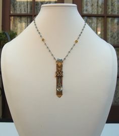 Watch Fob Necklace with London Blue Topaz