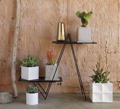 blox small square galvanized high-gloss white planter    CB2