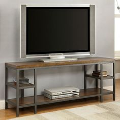 Furniture of America Payton Industrial Tiered TV Stand - Overstock Shopping - Great Deals on Furniture of America Entertainment Centers Cool Tv Stands, Furniture Of America, Steel Furniture, Entertainment Center, Living Room Tv Stand, Home, Tv Console, Furniture, Metal Furniture