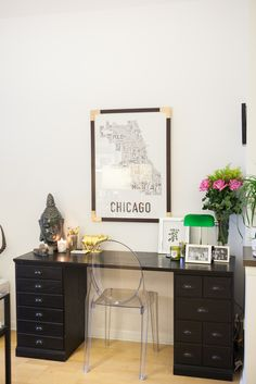 Amelia Canham Eaton's Chicago Apartment // office // interrior // #decor // lucite chair // gold pig // chicago // desk // modern // Photography by Jennifer Kathryn Photography