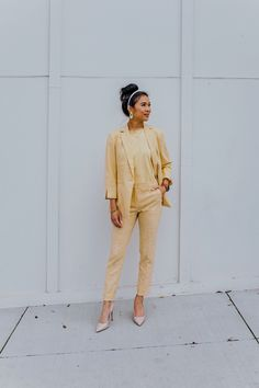 Five Things You Can to Do to Be Happier Now - Color ChicFive Things You Can to Do to Be Happier Now by Color Chic + a chic yellow spring outfit Charles Swindoll, Long Blazer, Colored Pants, Nude Pumps, Confident Woman, Colorful Fashion, Minimalist Fashion, Outfit Of The Day, Work Wear