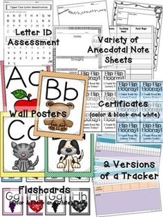 RTI Letter Identification Pack for preschool, kindergarten and intervention groups. 170 pages of worksheets, activities, games, assessments, and phonics centers.