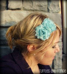 Shabby Chic Flower Headband in Light Aqua Blue ; I just found my hairstyle for my brother's wedding!