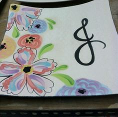 Pottery Painting Designs | Monagram plate | Pottery painting ideas