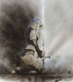 Gothic Fantasy Art, Fantasy Art Women, Apocalypse, Warrior Drawing, Pop Art Drawing, Comic Art Girls, Luis Royo, Illusion Art, Illustrations Posters