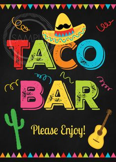 5x7 Printable Taco Bar / Fiesta / Cinco De by MyPrettyPartyShoppe