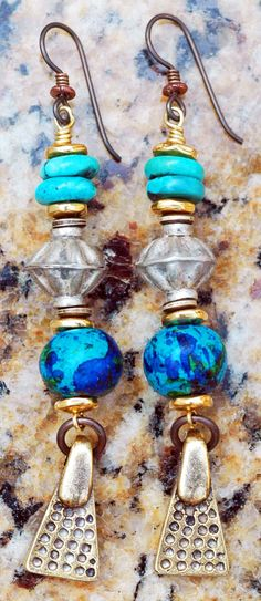 Custom Aegean Blue, Turquoise and Silver Earrings