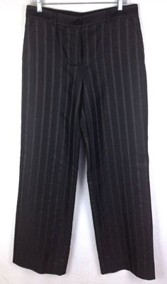 Giorgio Armani Pants Black Silk Pinstripe Dress Slacks Men's 44 #GiorgioArmani #DressFlatFront