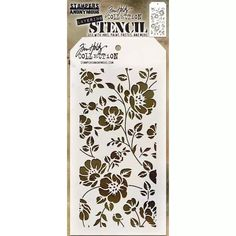 Tim Holtz 4x8 Layering Stencil - Floral THS077 | Buddly Crafts £5.99 Tim Holtz, Stampers Anonymous, Stencil Designs, Stencil Patterns, Stencil Painting, Stenciling, Simon Says Stamp, Distress Ink, Floral Flowers
