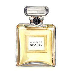 "Chanel Perfume ""Allure"" Print, Watercolor Fashion Illustration, Art Print. $10.00"