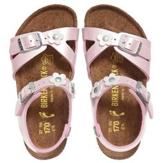 Girls Pink Patent 'Rio' Sandals with Flowers, Birkenstock, Girl