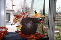My paper mache turkey! I made the body with a punching balloon.