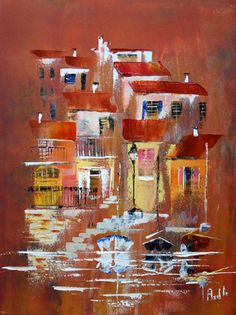 Peinture à l'huile sur acrylique au couteau Tableau d'un petit village au bord de l'eau ,  réalisée sur une toile de 30 cm x 40 cm sur 1.5 cm d'épaisseur.  Cette toile ne né - 11786207