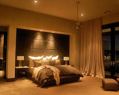 Bedroom floor to ceiling curtains, indented and soft wall with lighting
