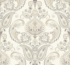 ND7079 Tasara from Candice Olson Inspired Elegance by York is a wallpaper with a paisley damask pattern in natural , metallic gold and grey.