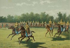 competition of horse riding by the Sultan's troops in Java. Lithograph by Josias Cornelis Rappard (1824-1898)