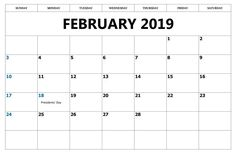 Free Printable 2019 Calendar With Holidays February 20 Best February 2019 Calendar images | Holiday calendar, 2019