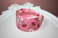 headband for girl pink flower print cotton headcover for Girls and Womens with small head size, anti-slip hairband