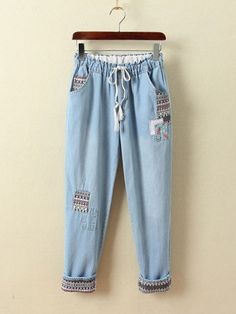 9023062f56 Floral Patched Women Bohemian Jeans Drawstring Elastic Waist New 2017  Straight Fit Ladies Ethnic Light Blue Denim Pants